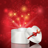 Heart shaped christmas gift box