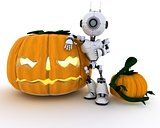 Robot with holiday jack-o-lantern