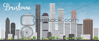 Brisbane skyline with grey building and blue sky