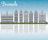 Brussels skyline with Ornate buildings of Grand Place