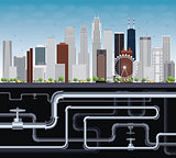 Imaginary Big City with Skyscrapers, Blue Sky, Trees and Tubes