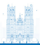 Outline building of the Cathedral of St Michael and St Gudula in