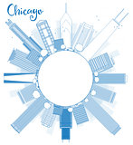 Outline Chicago city skyline with blue skyscrapers and copy spac