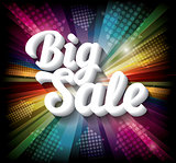 Big Sale banner on rainbow background