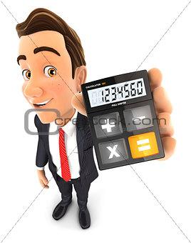 3d businessman calculator