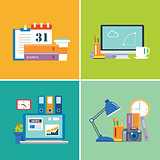 set of  flat design workspace.designer,business,student