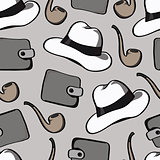 background with smoking pipes, hats and purses
