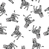 Seamless Funny Cartoon Zebra