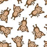 Seamless Funny Cartoon Monkey