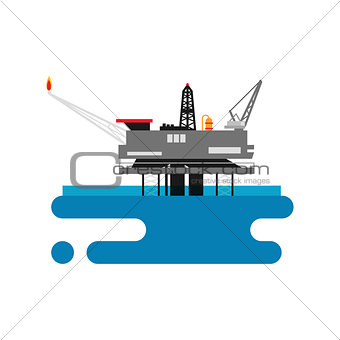 Offshore oil platform in the blue ocean. Flat style vector illustration concept