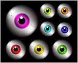 Set of realistic human eye ball with colorful pupil, iris. Vector illustration isolated on black background.