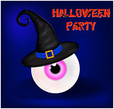 Image of Happy Halloween spooky background flat design with sign Halloween party. Vector illustration of invitation card with scary bloody eyeball in witch hat.