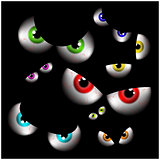 Set of realistic spooky, scary,  human eye ball with colorful pupil, iris. Halloween vector illustration isolated on black background.