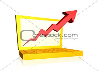Growth arrow from laptop screen