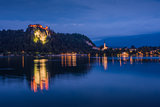 Bled Castle at Bled Lake in Slovenia at Night