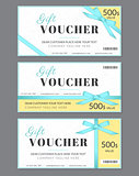 Gift voucher template with blue silk ribbon and a bow