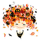 Halloween holiday design, female head