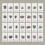 Cards with ornate mugs, sketch for your design