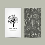 Business card design, floral tree