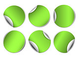 Set of green round promotional stickers.
