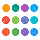 Zodiac constellations. Flat thin set of simple round zodiac constellations icons on color background - for web and print. Horoscope Signs.