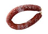 Chorizo sausage isolated as Cut