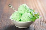 Pistachio ice cream in bowl
