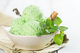 Matcha ice cream in bowl