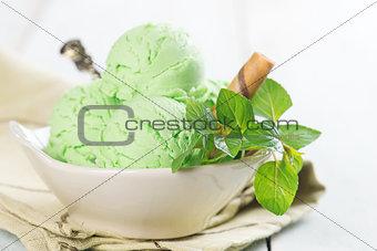 Matcha ice cream in bowl