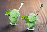 Matcha ice cream in cup