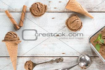 Top view chocolate ice cream