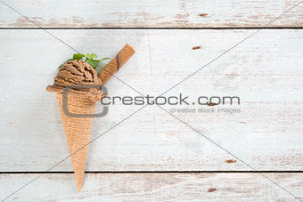 Top view cocoa ice cream