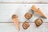 Top view brown ice cream cone