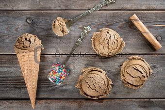 Above view chocolate ice cream cone