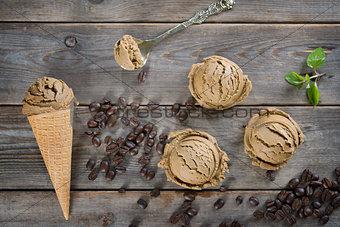 Top view mocha ice cream