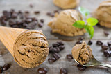 Close up mocha ice cream