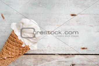 Close up vanilla ice cream cone