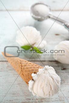 Closeup coconut ice cream cone