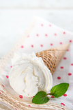 Closeup milk ice cream cone