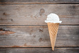 Top view vanilla ice cream cone
