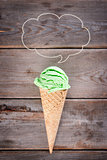 Top view green tea ice cream cone
