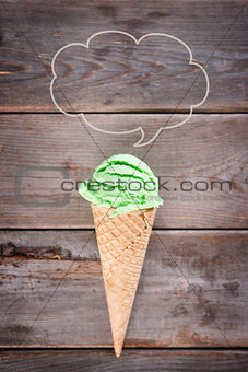 Top view green tea ice cream cone