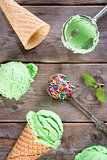 Top view matcha ice cream cone