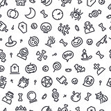Halloween Seamless Pattern With Icons