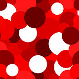 Abstract geometric seamless pattern with circles in shades of red. Illustration can be copied without any seams.