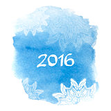 Happy New Year 2016 greeting card. Bright blue spot with snowflake. Abstract stylish watercolor background.