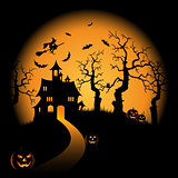 Halloween night orange background with witch and pumpkins castle