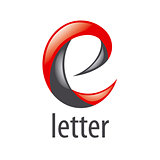 abstract red and black vector logo letter E