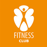 Abstract vector logo for a fitness club on an orange background
