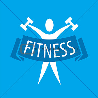 Abstract vector logo for fitness clubs on a blue background